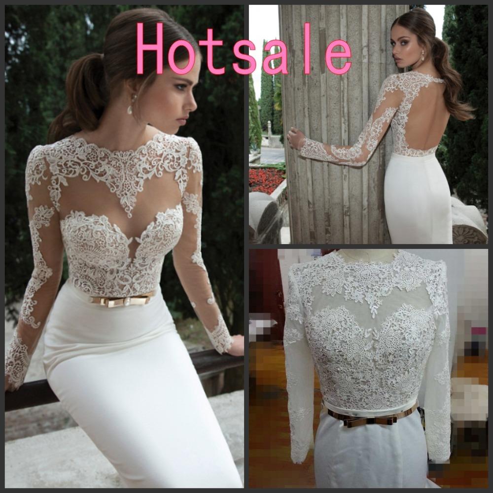 Aliexpress Buy Hotsale Berta Bridal Gown Sexy Backless Sheer Long Sleeved Lace Mermaid