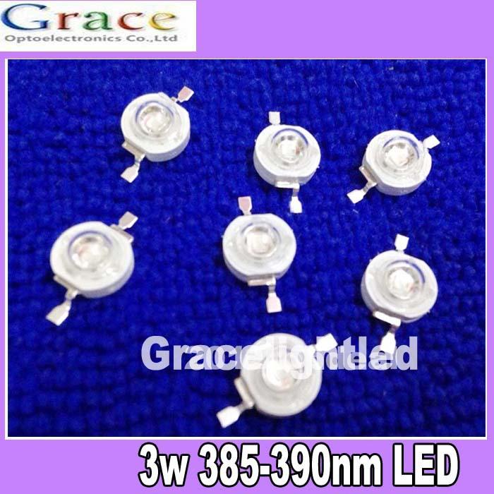 50pcs 3W UV ultraviolet 385-390nm high power LED 3watt purple Light free shipping(China (Mainland))