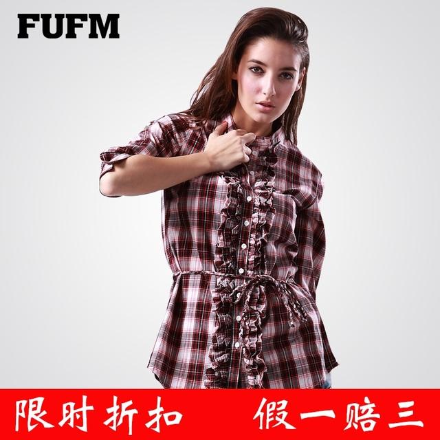 Fufm shirt women's summer casual three quarter sleeve 100% plaid cotton shirt female