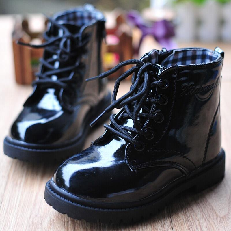 Hot sale 2015 Spring Autumn Winter Fashion children martin boots bright japanned motorcycle boys girls snow PU Kids casual shoes(China (Mainland))