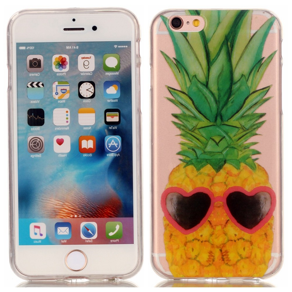 Pineapple Flower Skull TPU Soft For Coque iPhone 6 Case Silicone Transparen Back Cover iPhone 6 S 6s Plus Cell Phone Case Cover