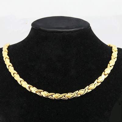 Man Chain 24K Gold 316L Stainless Steel Necklace Health 45CM Link Men Necklaces Never Fade - 38 International Holdings Ltd. store