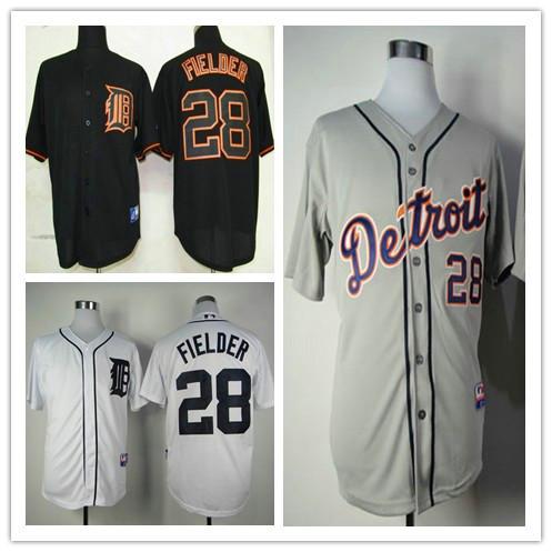 Detroit Tigers Jersey #28 Prince Fielder Baseball jerseys Black Gray White The embroidery Size M-XXXL Free shipping(China (Mainland))