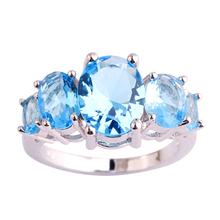 New Art Deco Fashion Jewelry Blue Topaz 925 Silver Ring Size 6 7 8 9 10