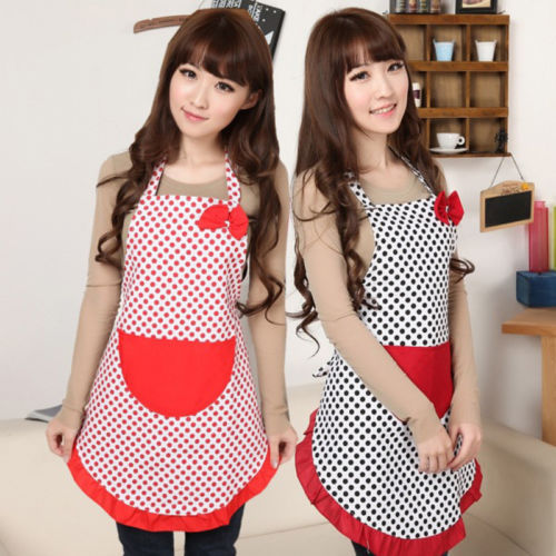 1 X New Cute BowKnot Women Lady Kitchen Restaurant Bib Cooking Aprons With Pocket Gift random colors(China (Mainland))