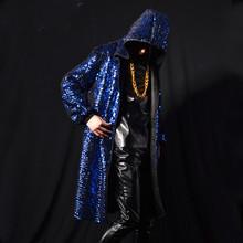 Cool blue cloak stage costumes street style men/women hiphop rock long design hooded jacket nightclub singer clothing K590(China (Mainland))