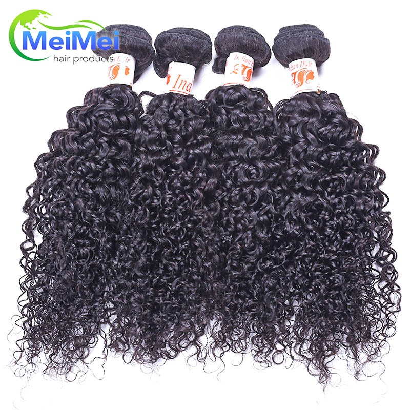 Queen Hair Products Indian Hair Curly 4 Bundles/lot Tissage Pretty Indian Curly Wavy Virgin Hair For Black Women