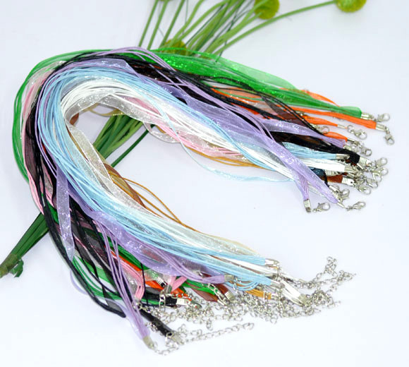 "Free Shipping 100pcs Random Mixed Lobster Clasp Organza Ribbon Waxen Cord String Necklaces 17""(China (Mainland))"