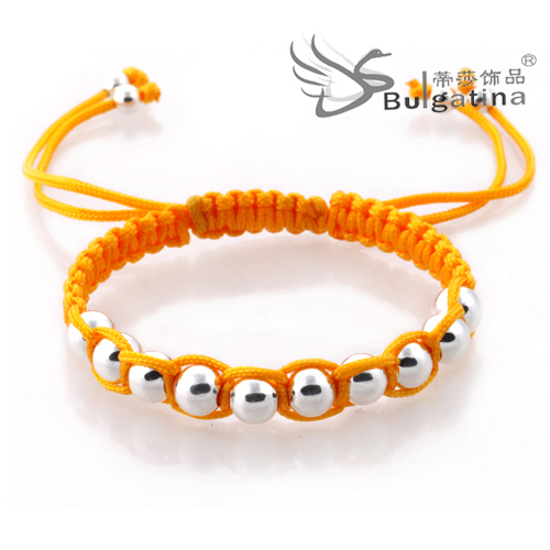New Trendy 2014 Weave One Row Beads Bracelet Infinity Handmade Cotton Braiding Adjustable Bracelets(China (Mainland))