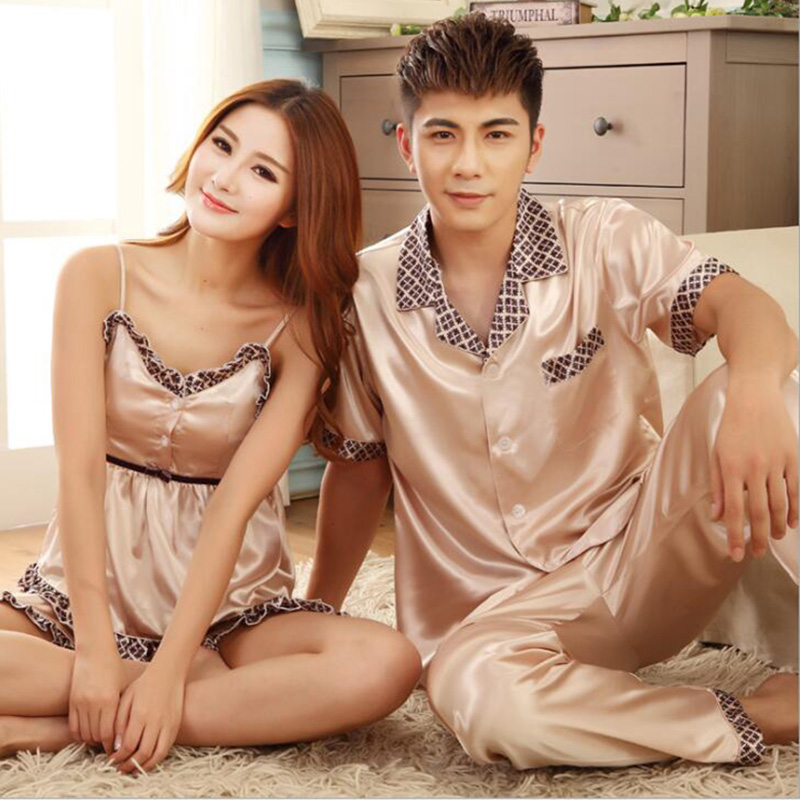 Imitated silk pajamas for couples lovers,men women champagne elegant lady elastic bust print nightgown M-3XL NBHD5021B 9614D(China (Mainland))