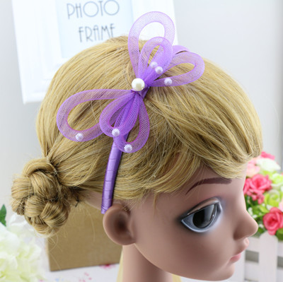 2016 Fancy Net Butterfly Hairbands For Baby Girls gift,Kids simulated Pearl Headbands Hair Hoop,Children Hair Accessories,HJ3046(China (Mainland))