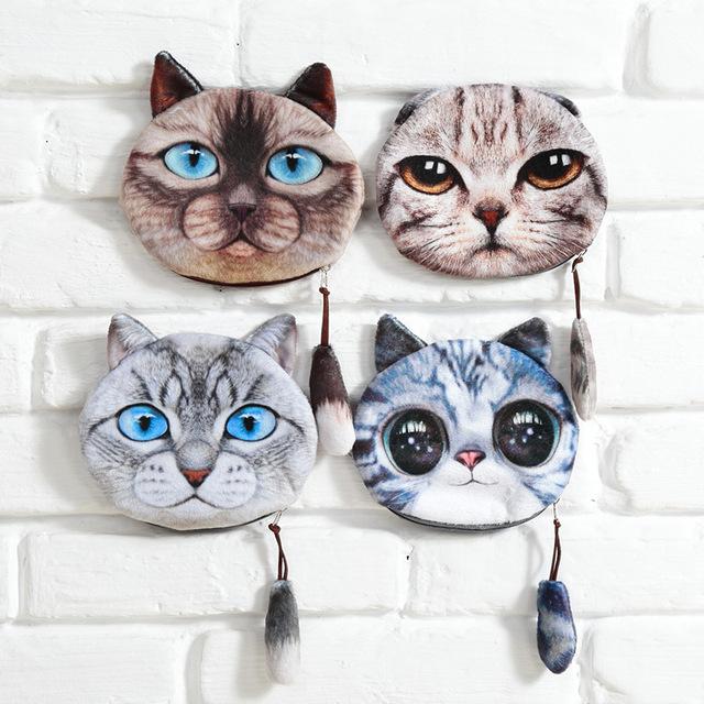 2016 женщина кошельки для монет бумажник дамы 3D печать кошки собаки животных большой ...
