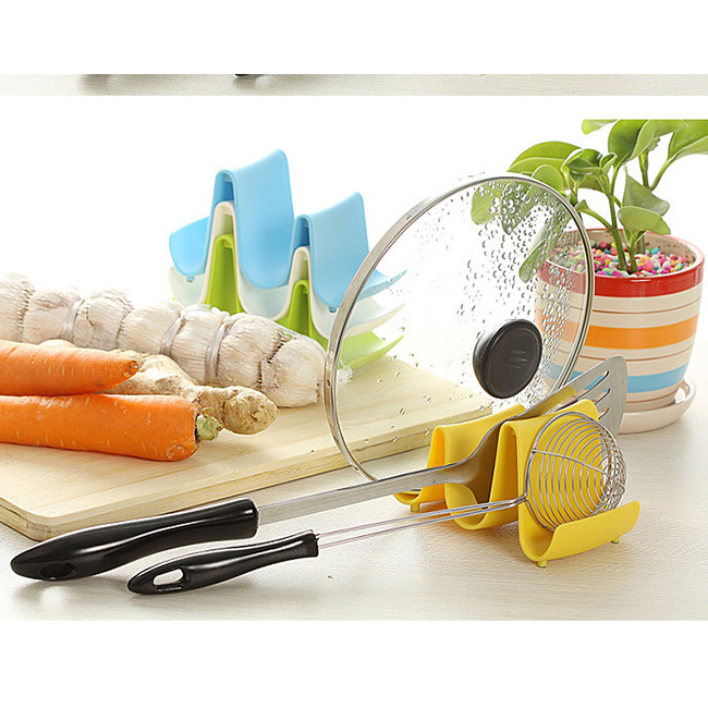 New Wave Style Pan Pot Cover Spoon Rack Stand Holder Kitchen Accessories Utensil Tool Random Color Beauty Use(China (Mainland))
