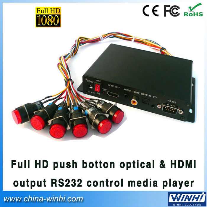 Full HD Push Button in store Optical & HDMI output RS232 Control video advertising Media player Guaranteed 100% Manufacturer(China (Mainland))