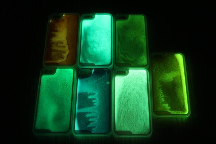 Glow In The Dark Noctiluncent Running Liquid Luminous Sand case Hard PC Back Cover Case For Iphone 4 4S 4G Beautiful Skin(China (Mainland))