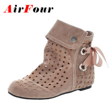 Airfour Women Summer Boots Big Size 34-43 New Fashion Hidden Wedges Cutouts Casual Wedding Shoes Womens Ankle Boots Black Red(China (Mainland))