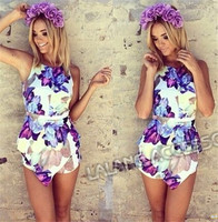 New Flower printed flounced playsuit Women Summer Jumpsuits Floral Printing ay851446