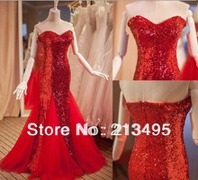 ladies elegant long formal red glamour dress strapless woman for a special occasion dresses sexy sequin evening gown female W588(China (Mainland))