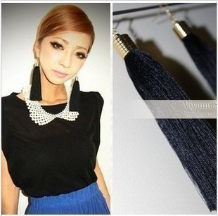 Free shipping ! Black retro long tassel drop earrings for women