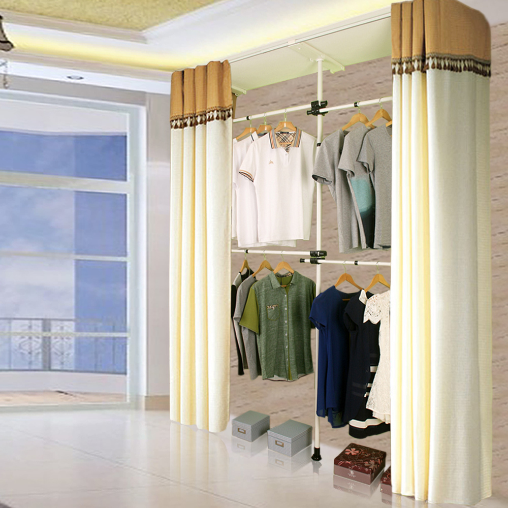 Korean furniture combination folding cloth wardrobe simple retractable landing hangers hanger storage cabinets cloakroom shippin(China (Mainland))