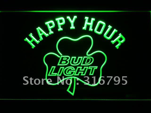 665-g Bud Light Shamrock Happy Hour Beer Bar LED Neon Sign(China (Mainland))