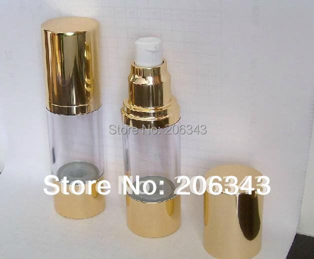 30ML Gold airless plastic bottle with airless pump used for Cosmetic Sprayer and Cosmetic Container(China (Mainland))