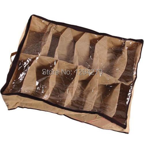 1pcs Free Shipping Fabric Dustproof Shoes Organizer Case Storage Bag Box Holder For 12 Pairs Shoes 3X(China (Mainland))