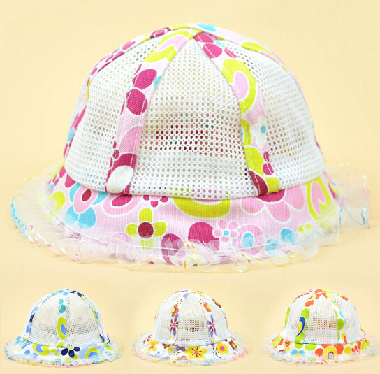 Newborn Baby Hats Summer Girls Baby Hat With Small Flowers Infant Children Sun Hat Girls Bucket Hat(China (Mainland))