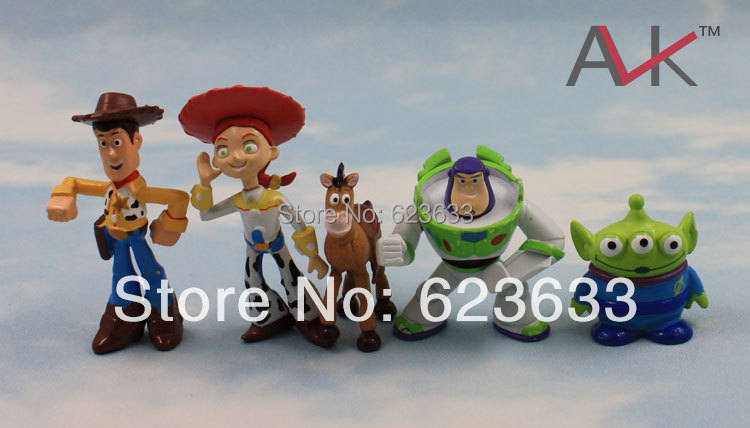 New 5 pcs TOY STORY 3 BUZZ LIGHTYEAR WOODY Figures SET Free shipping& Wholesale Classic toys(China (Mainland))