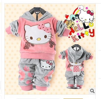 RETAIL2014 baby 2piece suit set tracksuits Girl's Hello Kitty clothing sets velvet Sport suits hoody jackets +pants freeshipping(China (Mainland))