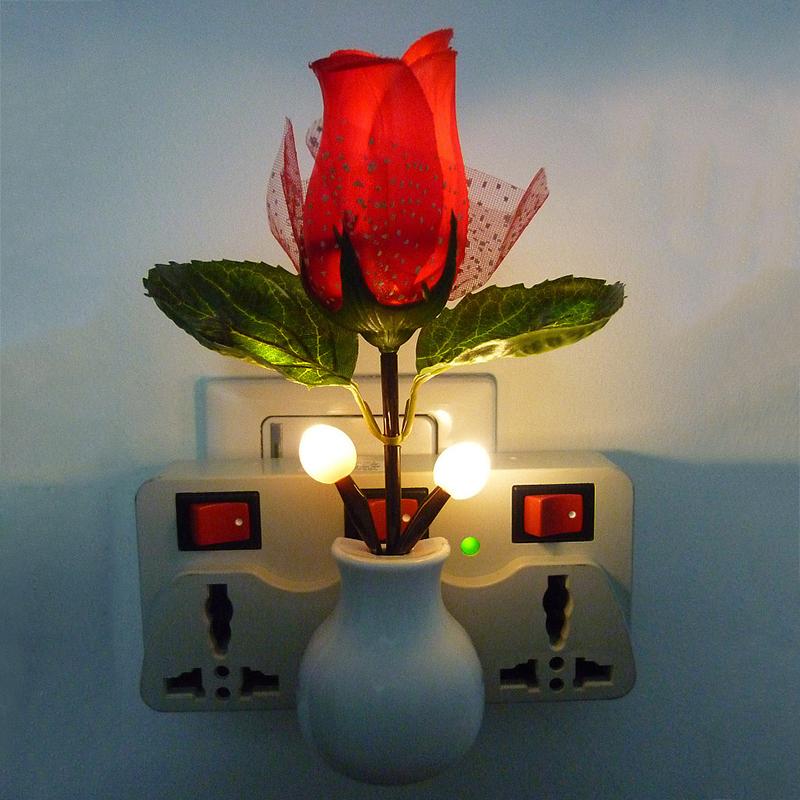 Modern Style Home Decoration LED Rose Night Light Rose Lamp LED Wall Lamp US Plug Free Shipping(China (Mainland))