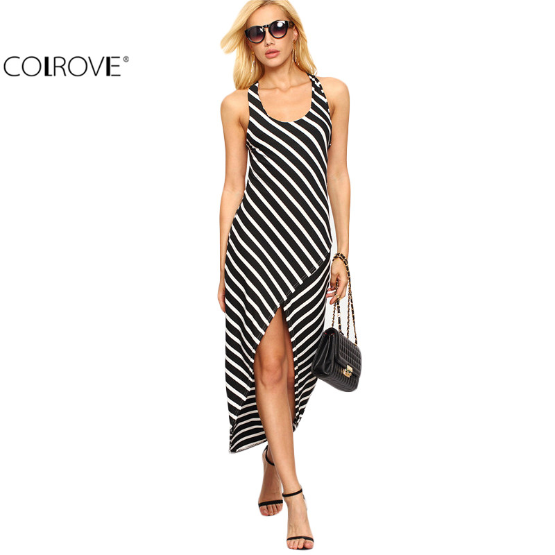 COLROVE Sexy Crisscross Open Back High-Low Black White Striped Dresses New Arrival Women Casual Asymmetrical Maxi Dress(China (Mainland))