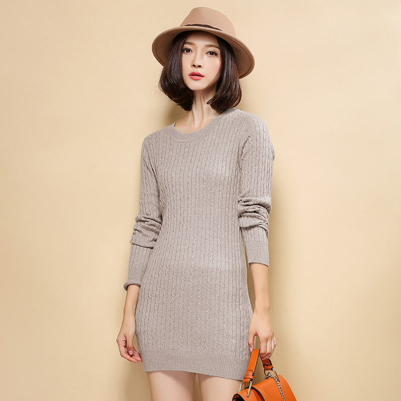 Women's Crew O-neck 100% Cashmere Long Sweaters Dress Knitted Cable Pullover Women Sweater 2015 Winter Autumn Jumper Femme