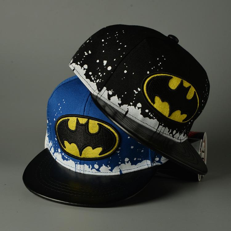 2016 New Fashion Kids Cartoon Batman Snapback Hats Baseball Cap Boys Girls Sports Child Cotton Super Hero Batman Hip Hop Caps(China (Mainland))