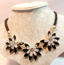 Brilliant Weave Flower Decoration Choker Necklace For Women Hot Sale Rhinestone Wedding Jewelry Rope Necklace Collares(China (Mainland))