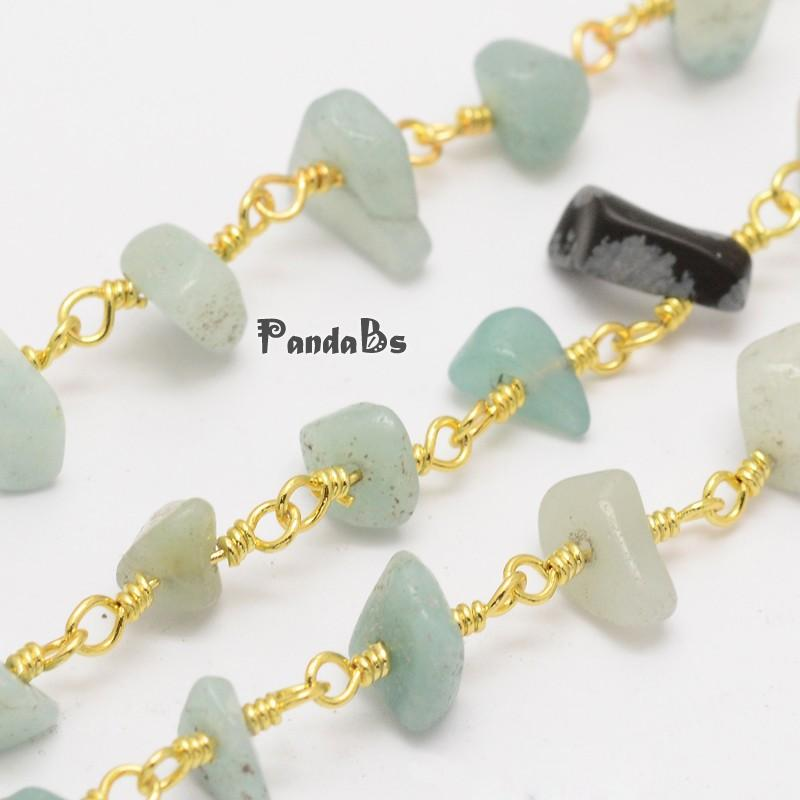 Handmade Amazonite Chip Beaded Chains, wtih Golden Plated Brass Findings, 4~9x11x2~8mm<br><br>Aliexpress