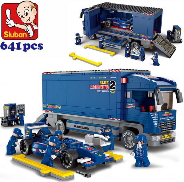 Sluban M38-B0357 F1 Racing derrick cargo Truck building blocks carrier automobile vehicle cart Transporter bricks(China (Mainland))