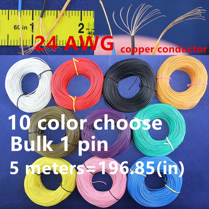 Free Bulk 1pin 5 metres super flexible 24AWG PVC insulated Wire Electric cable, LED cable, DIY Connect 10 color choose