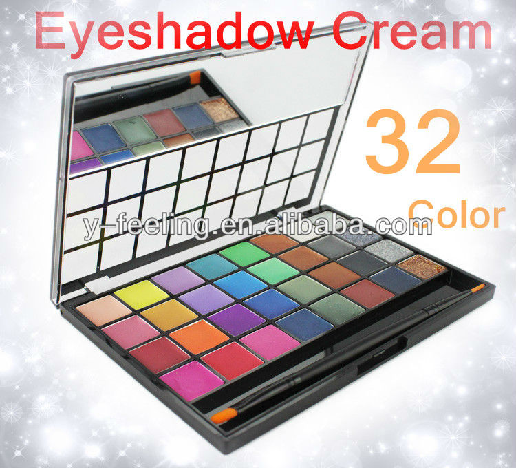 Free Shiping Hot Sale Pro 32 Color Shimmer & matte Eyeshadow Gel MakeUp cream gel Palette with brush Dropshipping!(China (Mainland))