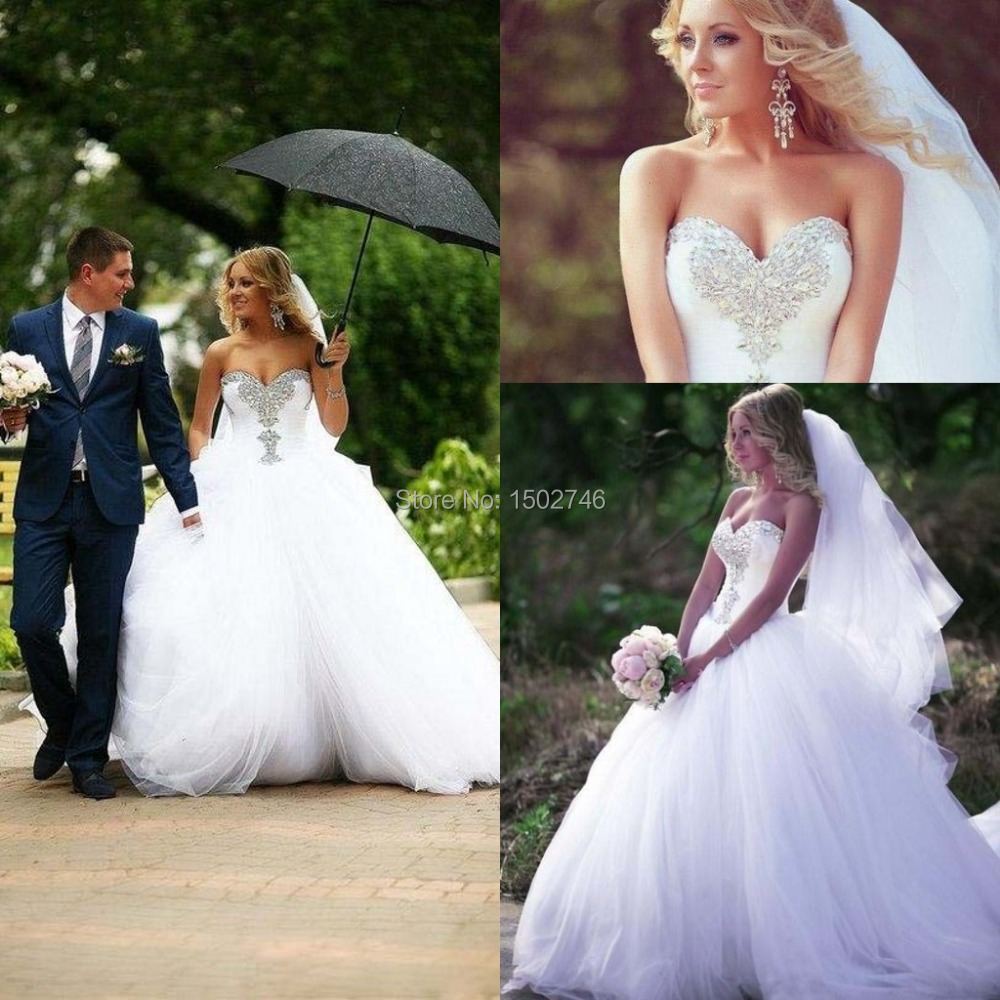 Luxury Stock Newest Sweetheart Strapless Beading Shining Lace Up Puffy Big Ball Gown Wedding