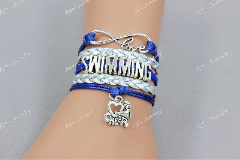 Silver and Blue Purple Leather Cord Infinity Love Running Cheer Bracelets ,Custom Jewelry, Free shipping! Aolo00511(China (Mainland))