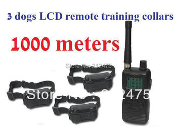 Free Shipping New 1000m 2th Generation Remote Electric Dog Training Collar trainer Products 4in1 Shock For 3DOGS