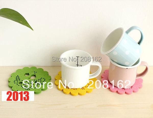 Colorful Flower Hollow Felt Coaster Potholder Cup Bowls Pot Non-slip Insulation Mat (mini order 10 usd)(China (Mainland))