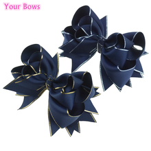 Buy Bows 1PC 5 Inches Navy Boutique Hair Bows Girls Hairpins Solid Grosgrain Ribbon Bows Girls Hair Accessories for $1.43 in AliExpress store