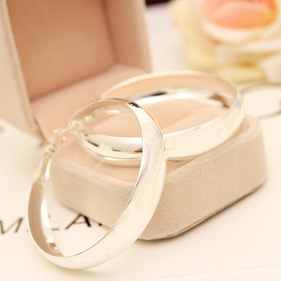 Fashion Silvery Golden Round Big Hoop Earrings for Women Jewelry Diameter 4.5 CM(China (Mainland))