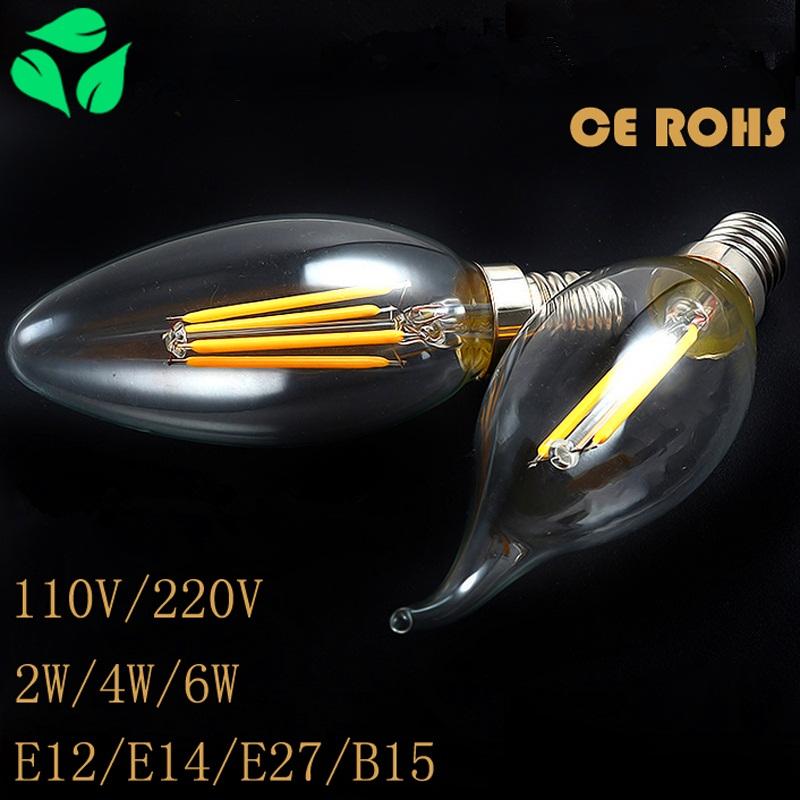 Edison candle bulb 2W 4W E14/ E27/ E12 Led Warm/White High Bright Led Spotlights AC110V/ 220V CE ROHS free shipping(China (Mainland))