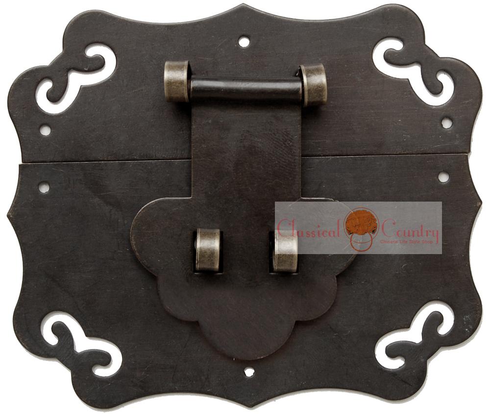 Box Catch Brass Hasp Latch for Chinese Furniture Trunk Jewelry Box Locking Buckle Copper 8X7cm(China (Mainland))