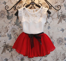 2016 Summer girl sets Children Clothing Girls 2pcs Set Kid Sleeveless Lace T Shirt Tops Bow Pleated Skirt Kids Girls Outfits