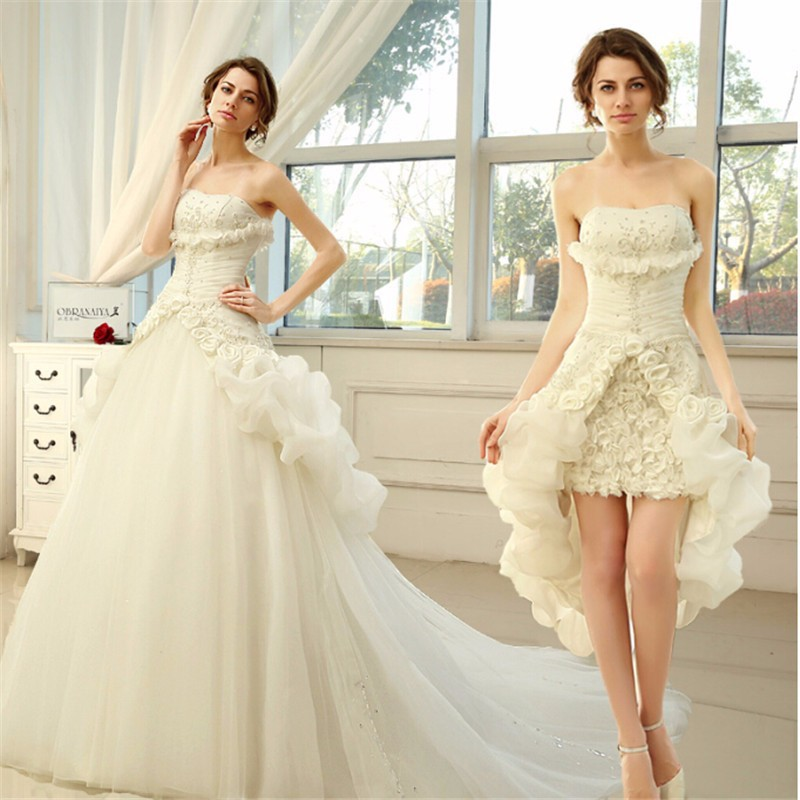 2015 new style two piece princess wedding dress sweetheart for Short wedding dress with removable train