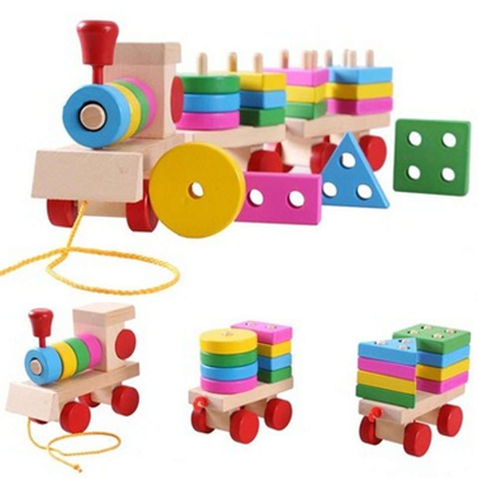 Wooden Train Puzzles Toys Stacking Shape Geometry Train Set Combination Kids Educational Toys Whole(China (Mainland))